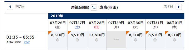 ギャラクシーフライト 羽田 沖縄